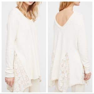 Free People No Frills Lace Pullover Sweatshirt
